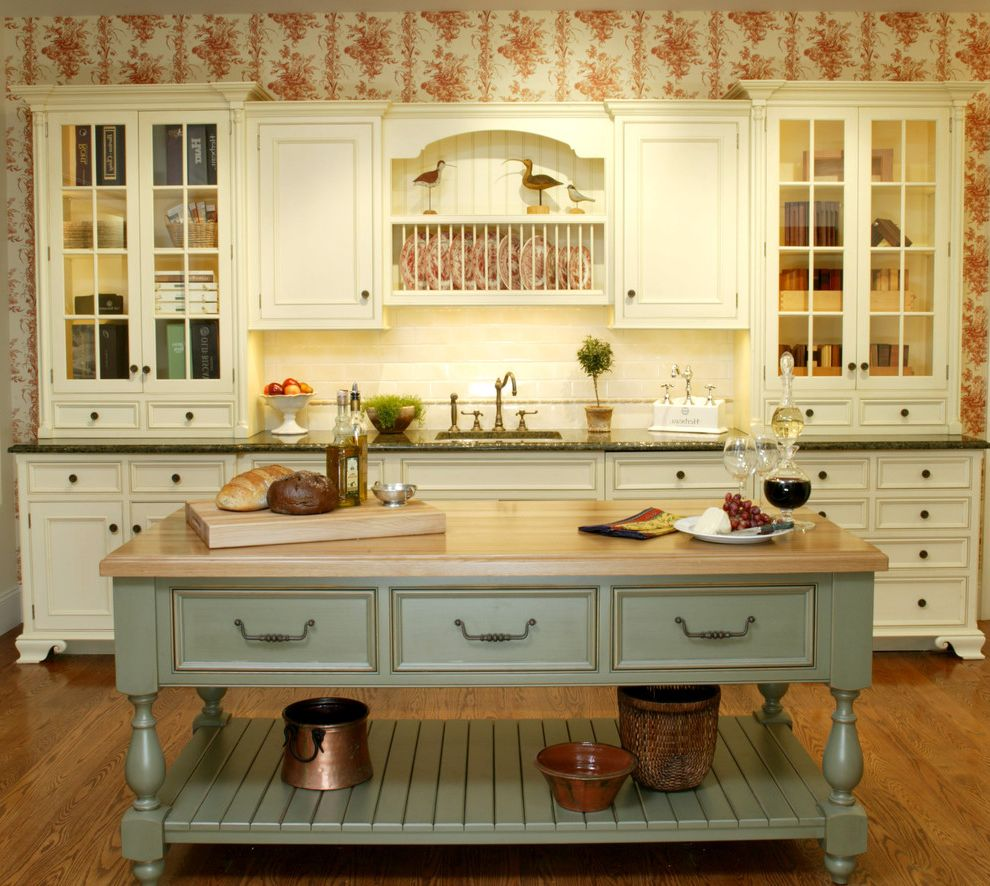 Umpqua Bank Near Me with Farmhouse Kitchen  and Cottage Custom Cabinets Farmhouse Farmhouse Kitchen French Country Kitchen Green Island Green Kitchen Island Island Kitchen Island Sink Wallpaper White Cabinets Wood Floor