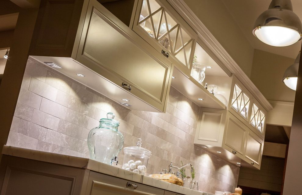 Under Cabinet Lighting with Outlets   Traditional Kitchen Also Butlers Sink Marble Tiles Tapware