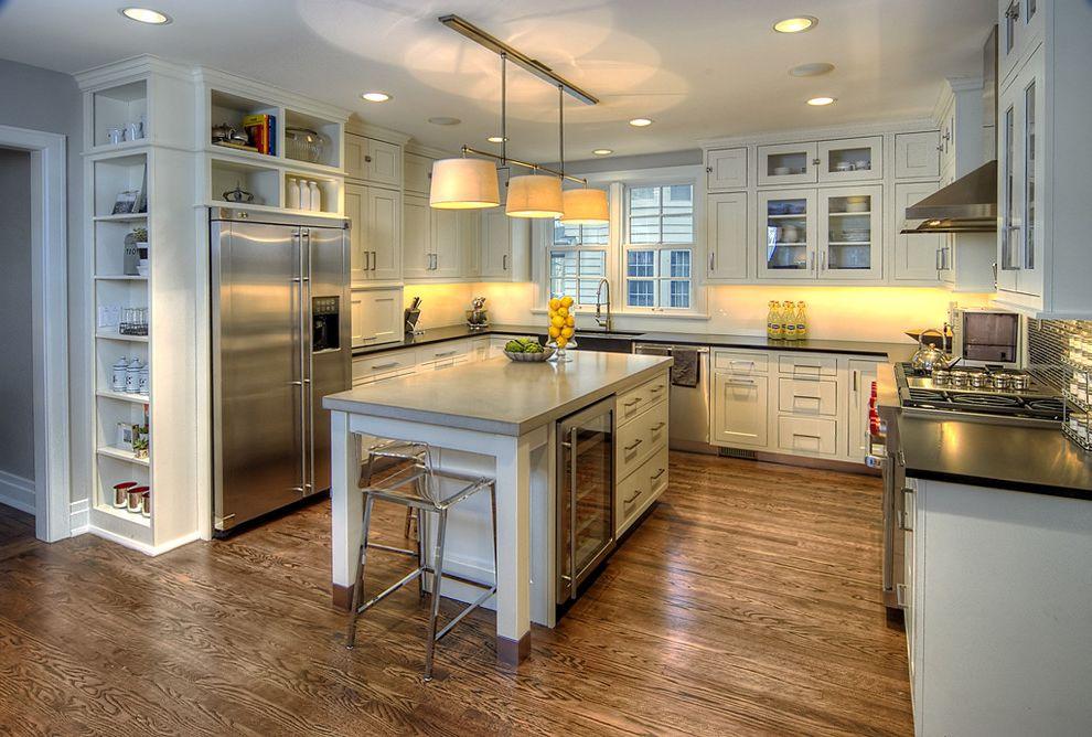 Under Cabinet Refrigerator   Contemporary Kitchen  and Ceiling Lighting Eat in Kitchen Kitchen Island Kitchen Shelves Recessed Lighting Stainless Steel Appliances Under Cabinet Lighting White Kitchen Wine Refrigerator