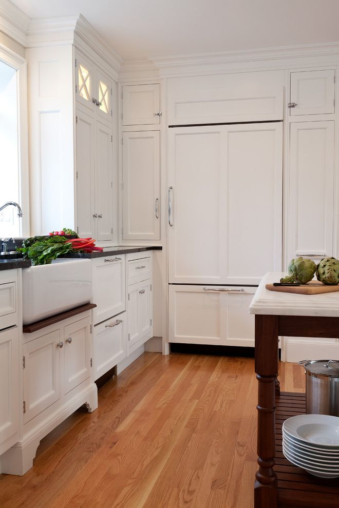 Under Cabinet Refrigerator with Traditional Kitchen Also Apron Sink Cabinet Front Refrigerator Farmhouse Sink Kitchen Island Panel Refrigerator Shaker Style White Kitchen Wood Flooring
