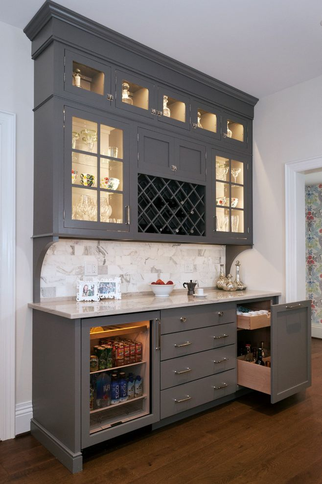 Under Counter Beverage Refrigerator   Traditional Home Bar Also Built in Wine Rack Cabinet Lighting Casual Elegance Custom Made Gray Grey Quartersawn Oak Quartzite Under Counter Fridge