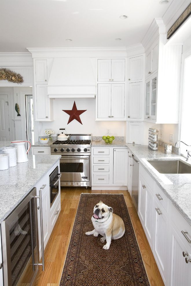 Under Counter Beverage Refrigerator with Traditional Kitchen  and Beverage Refrigerator Ceiling Lighting Crown Molding Dog Kitchen Island Kitchen Rug Pets Range Hood Recessed Lighting Under Cabinet Lighting White Kitchen Wine Refrigerator Wood Flooring
