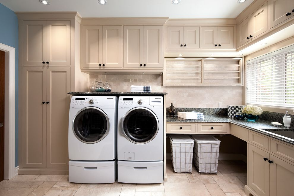 Under Counter Washer and Dryer   Traditional Laundry Room Also Built in Storage Cabinets Drawers Drying Rack Hampers Laundry Room Appliances Recessed Lighting Window