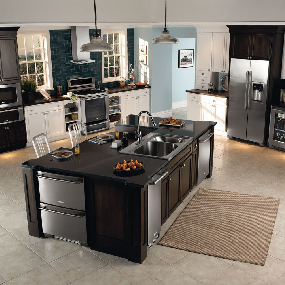 Undercounter Freezer with Ice Maker with Contemporary Kitchen  and Contemporary