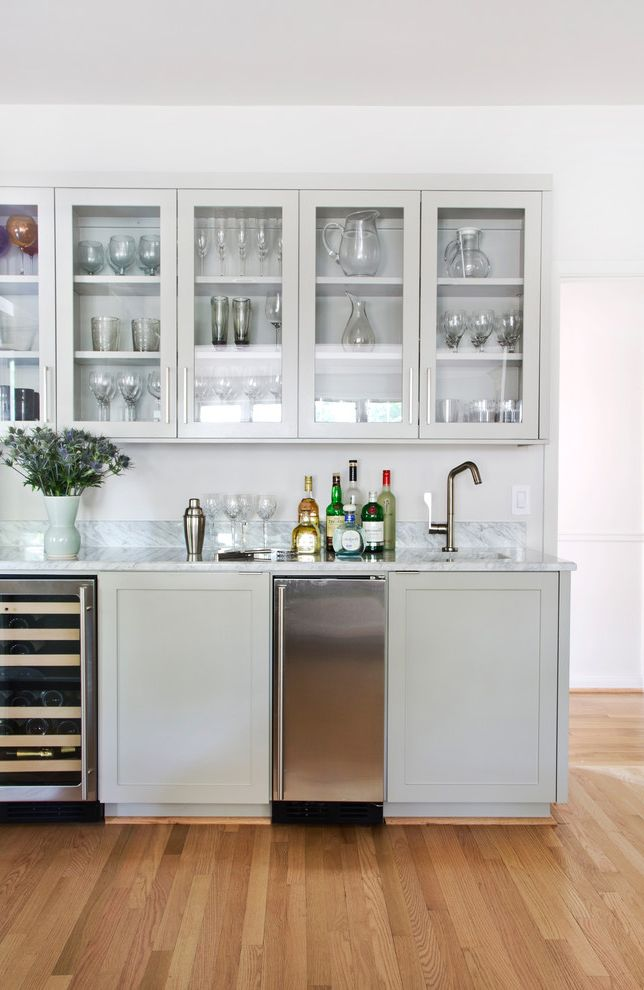 Undercounter Freezer with Ice Maker with Transitional Kitchen Also Bar Pulls White Countertop Wine Refrigerator