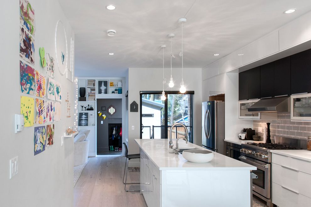 Unfinished Kitchen Wall Cabinets with Contemporary Kitchen  and Artwork Black Bar Stool Black Cabinets Exposed Bulbs Magnetic Wall My Houzz Pendant Lights Recessed Lighting White Countertop