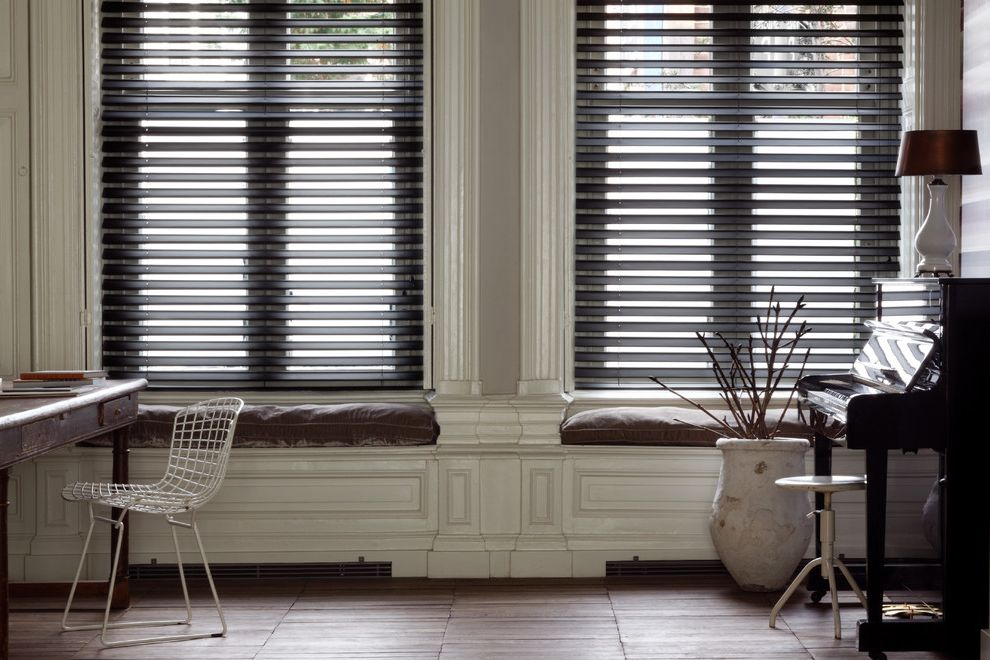 Unilux Windows with Rustic Home Office and Bench Seating Blinds Budget Blinds Butterfly Blinds Lamp Piano Piano Lamps Roman Shades Shades Shutter Window Coverings Window Seats Window Treatments Wood Blinds Wooden Flooring