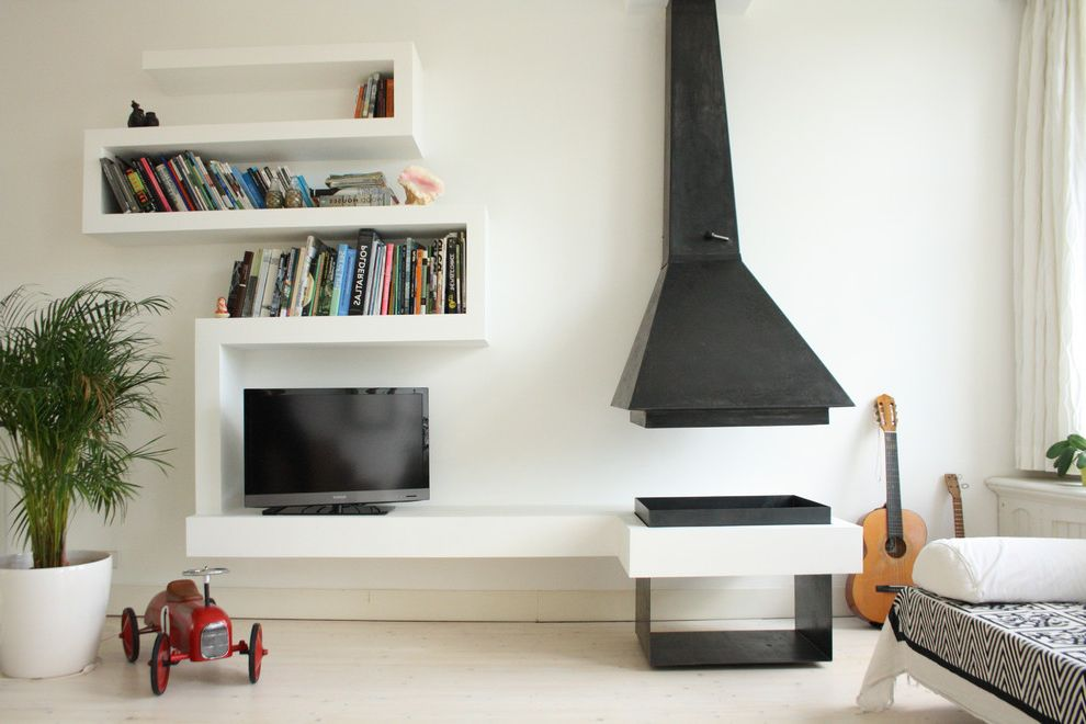 Unique Tv Consoles with Modern Living Room Also Built in Bookcase Built in Bookshelf Curved Bookshelf Fireplace Guitar Indoor Plant Light Floor Media Console Unique Bookshelf Unique Fireplace Wall Shelves White Curtain