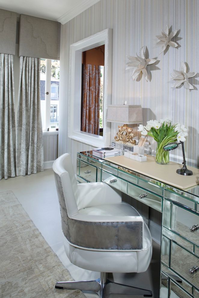Upholstered Desk Chair with Wheels with Eclectic Bedroom  and Curtains Drapes Foral Arrangement Mirrored Desk Striped Wallpaper Valance Wall Art Wall Decor White Leather Task Chair White Wood Window Treatments Wood Trim