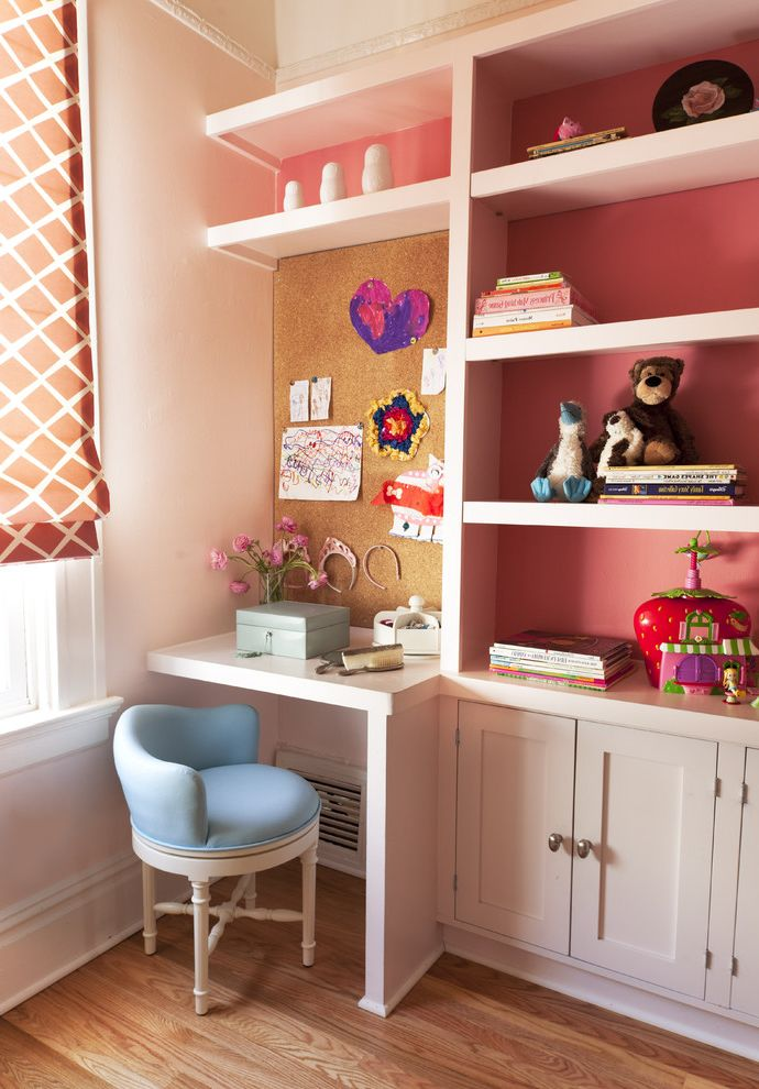 Upholstered Desk Chair with Wheels with Traditional Kids Also Built in Bookshelves Built in Cabinets Built in Desk Coral Cork Board Girls Bedroom Kids Room Open Shelving Pink Paint Roman Shade Storage Upholstered Desk Chair