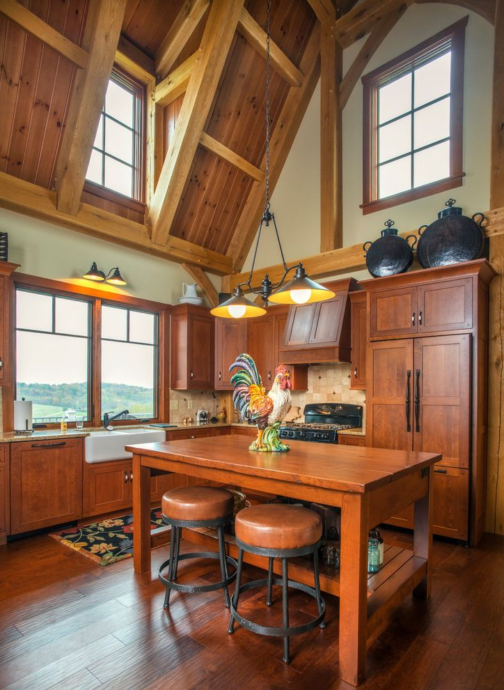 Ups Columbus Ohio   Farmhouse Kitchen  and Cathedral Ceiling Chandelier Clerestory Window High Ceiling Kitchen Island Light Wall Sconce Wood Ceiling