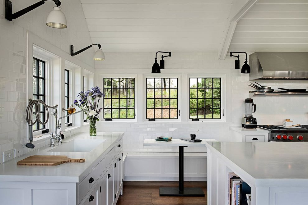 Urban Electric Company   Farmhouse Kitchen  and Black Wall Sconce Black Window Trim Breakfast Nook Shiplap Ceiling Subway Tile Walls Vaulted Ceiling