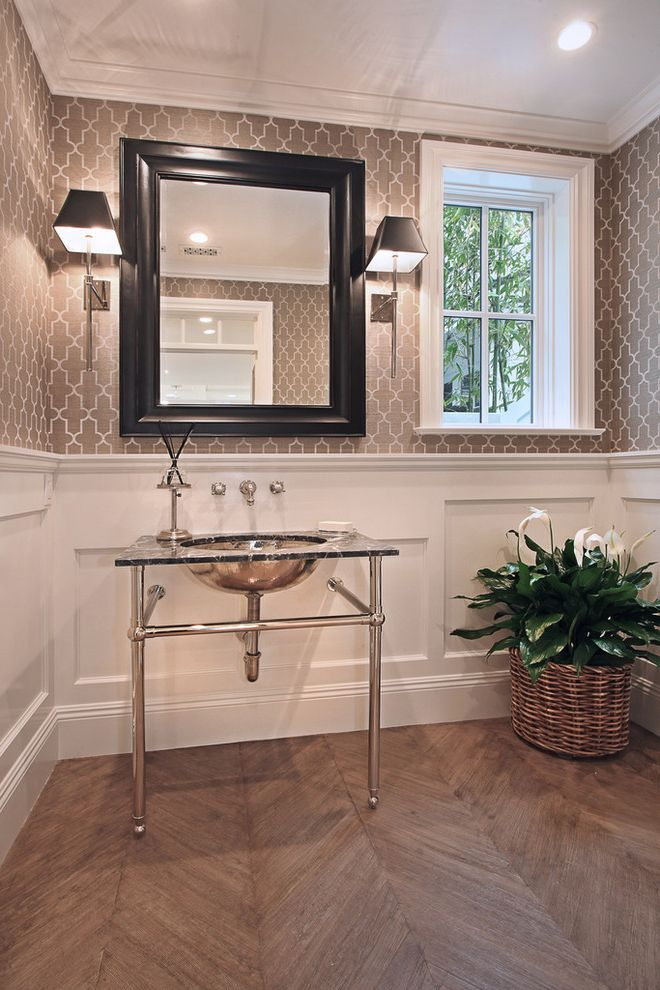 Urban Electric Company   Traditional Powder Room  and Bathroom Mirror Black Framed Mirror Gray Wallpaper Oak Floor Pedestal Sink Reclaimed Wood Wall Sconces Wall Mounted Sink Fixtures White Baseboard White Molding White Trim White Wood Paneling