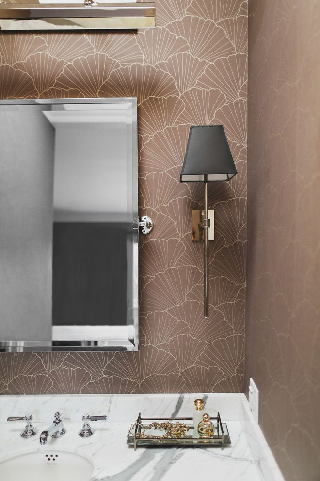 Urban Electric Company   Transitional Bathroom  and Black Shade Pivot Mirror Sconce Wallpaper