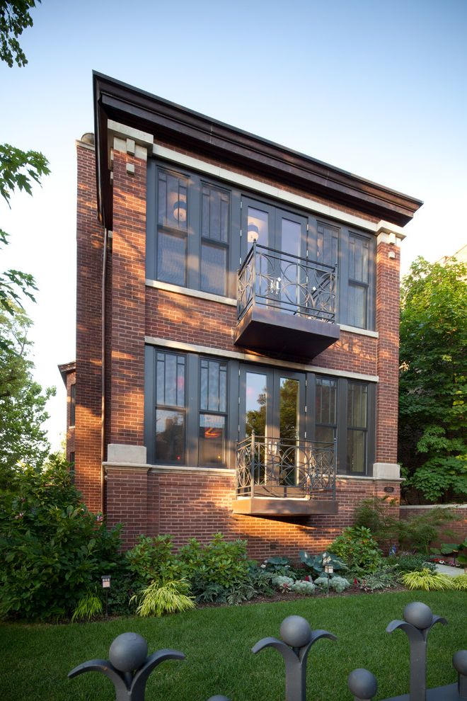 Urban Oasis Chicago   Contemporary Exterior  and Balcony with Metal Design Black Wrought Iron Fence Brick Exterior Extraordinary Detail