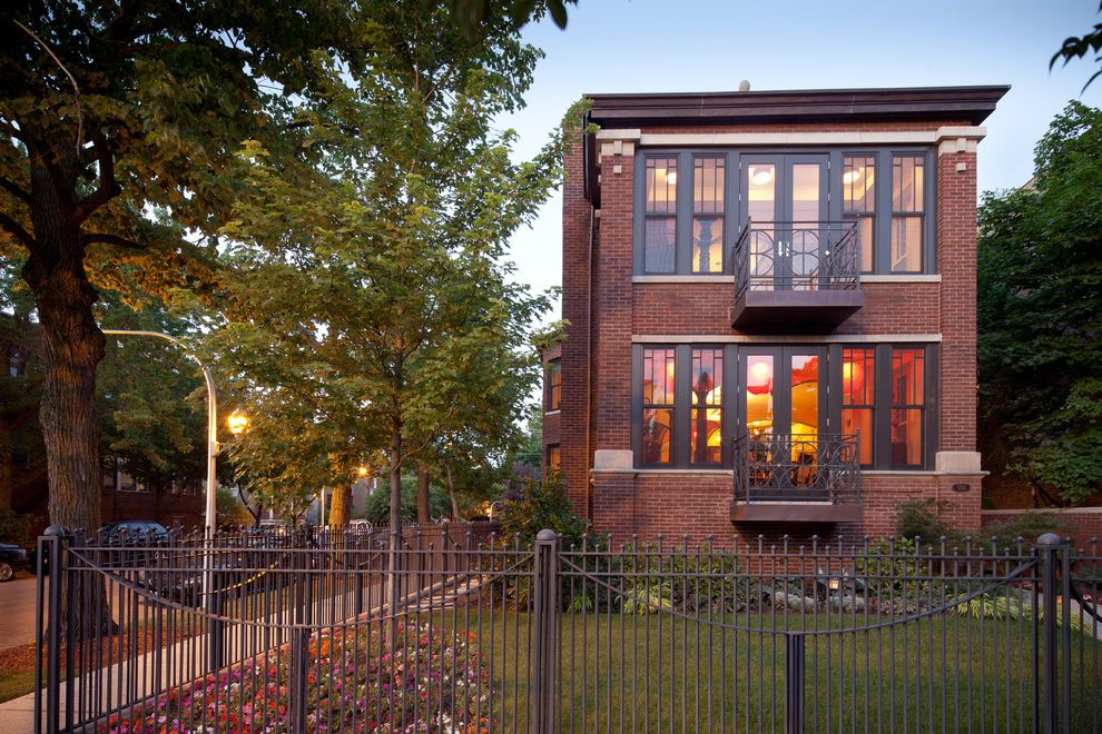Urban Oasis Chicago   Traditional Exterior Also Balcony Brick Walls Charcoal Trim Copper Balcony Exterior Fence Fencing Landscape Painted Window Trim Picture Windows Vertical Windows