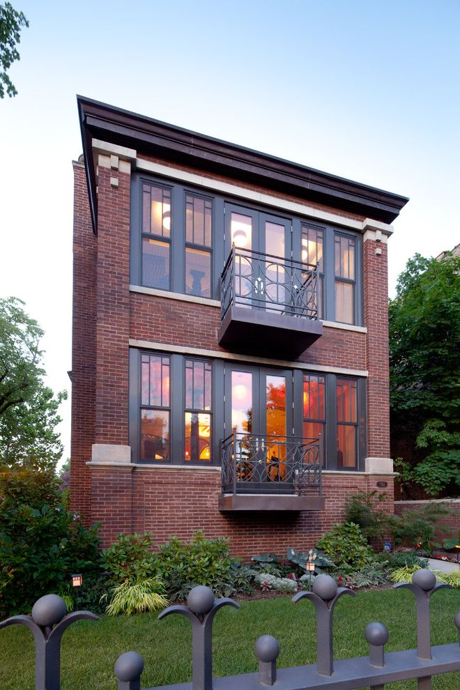 Urban Oasis Chicago with Contemporary Spaces  and Custom Metal Fence Exterior Brick Unusual Balcony Design