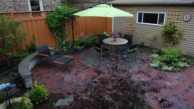 Urban Oasis Chicago with  Spaces Also Bamboo Brick Pavers Chicago City City Garden Clay Pavers Green Japanese Maple Makeover Modern Oasis Offset Patio Umbrella Patio Red Brick Richcliff Round Seat Wall Shade Perennials Small Yard Teak Furniture Urban
