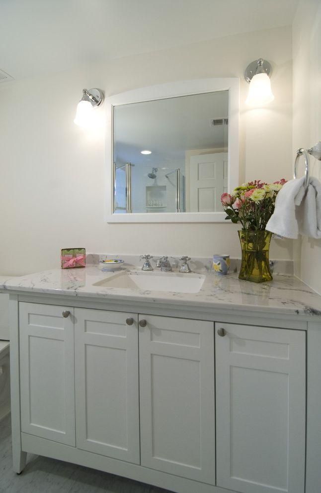 Us Marble Vanity Tops   Traditional Bathroom  and Carerra Marble Gray Floor Marble Floor Nickel Faucet Sconces Shaker Vanity Towel Ring Undermount Sink White Mirror White Vanity