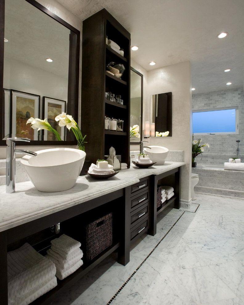 Us Marble Vanity Tops   Transitional Bathroom Also Above Counter Sink Dark Wood Cabinets Double Sink Large Mirror Recessed Lighting Shelves Tile Backsplash Tile Bathtub Tile Floor