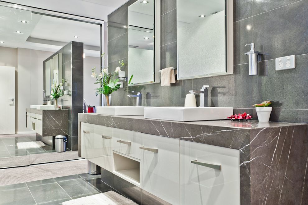 Us Marble Vanity Tops With Contemporary Bathroom And Double Bathroom Mirror  Double Bathroom Sink Gray Stone Floor Gray Stone Wall Marble Bathroom  Vanity
