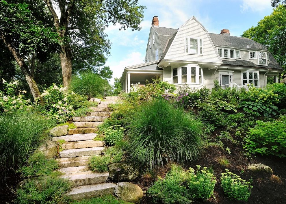 Used Tablecloths for Sale   Contemporary Landscape Also Granite Grasses Hillside Path Plantings Reclaimed Reclaimed Granite Repurposed Shade Slope Stairway Steep Steep Slope Steps Stone Steps