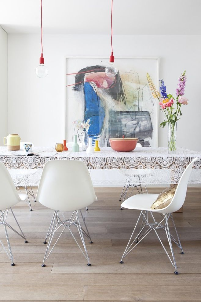 Used Tablecloths for Sale with Modern Dining Room  and Flower Vase Hanging Light Bulb Lace Tablecloth Large Artwork Light Wood Floor Red Lightbulb Cord White Dining Table White Tablecloth White Wall Wood Dining Table