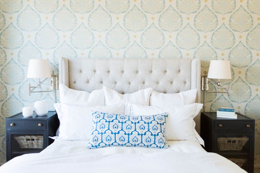 Value City Furniture Nj   Traditional Bedroom  and Blue and White Sconces Tufted Headboard Wallpaper