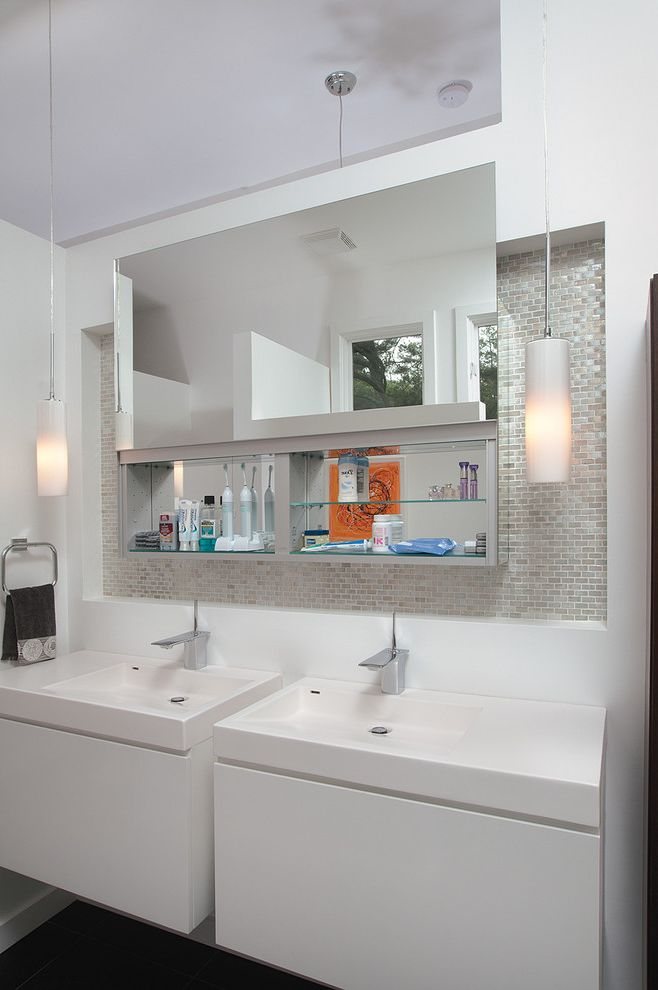 Vance Family Medicine with Midcentury Bathroom  and Et2 Pendants Floating Vanity Cabinets Kohler Faucet Lacava Integral Sinks Recycled Glass Mosaic Niche Robern Mirror Uplift Mirror Cabinet