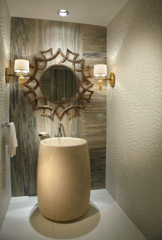 Vcu Interior Design   Contemporary Powder Room  and Beige Sink Recessed Lighting Round Mirror Single Handle Faucet Textured Wall Wall Sconces White Floor Tile