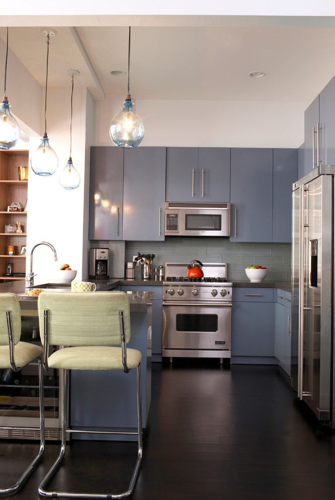 Vdsc5304bss   Contemporary Kitchen  and Blue Cabinets Blue Drawers Blue Glass Pendant Light Dark Wood Floor Gray Cabinets Gray Countertop Gray Drawers Gray Tile Backsplash Green Counter Stool Red Tea Kettle Stainless Steel White Wall Wine Fridge