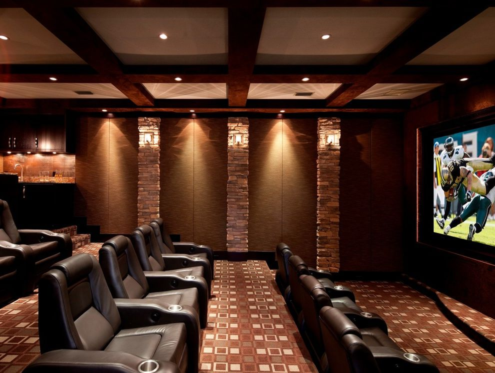 Vernon Hills Theater with Contemporary Home Theater Also Box Beams Browns Carpet Pattern Carpeting Coffered Ceiling Cup Holders Recessed Lighting Stone Veneer Theater Seating Wall Sconces