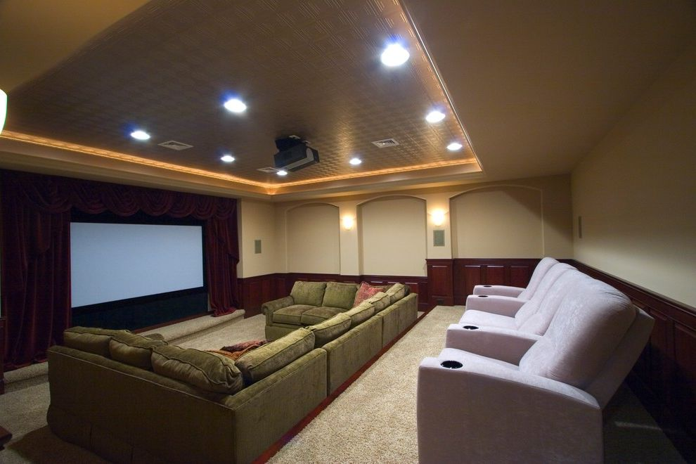 Vernon Hills Theater with Modern Basement Also Basement Finished Basement Home Theater Movie Room Projector Tv Stadium Seating Tv Room