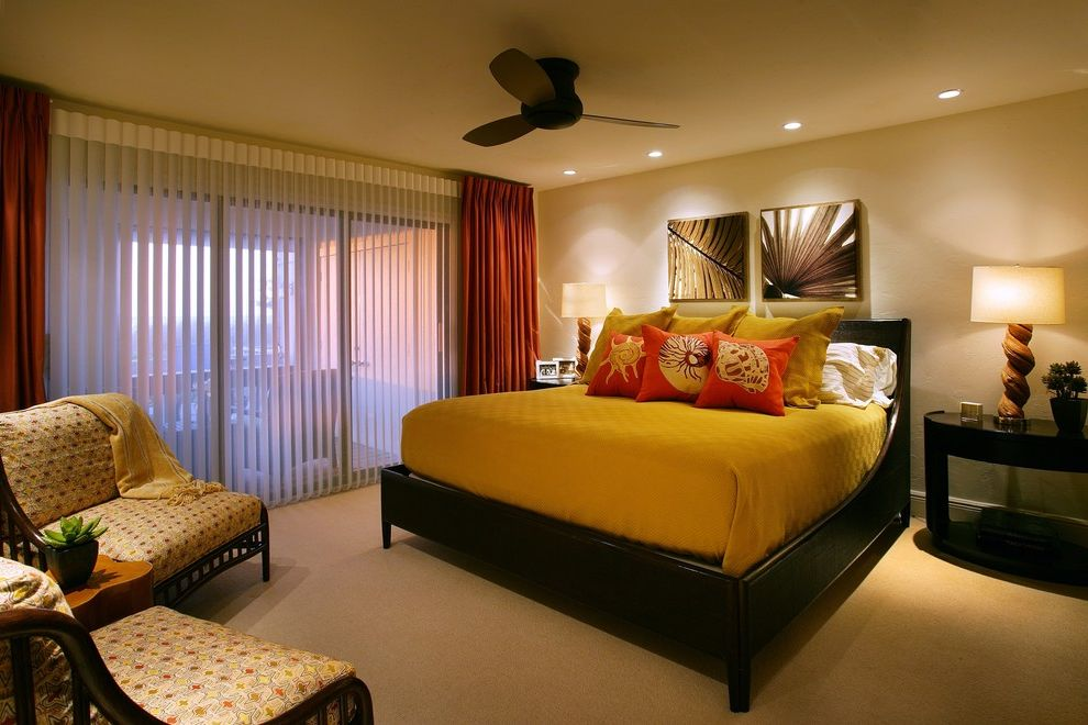 Vertical Blinds with Curtains   Contemporary Bedroom  and Contemporary