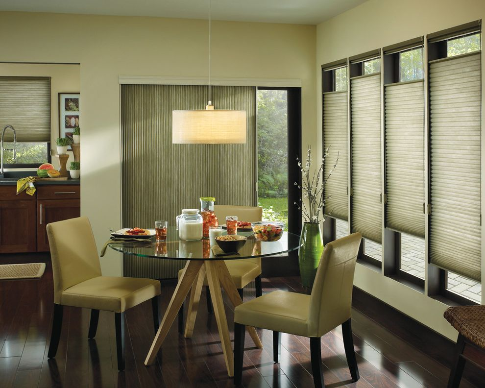 Vertical Blinds with Curtains with Modern Dining Room  and Blinds Ceiling Light Chair Glass Table Kitchen Round Table Upholstered Chair Window Treatment Wood Floor