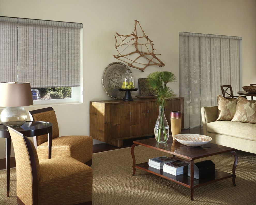 Vertical Blinds with Curtains with Traditional Living Room Also Blind Coffee Table Credenza Rug Sisal Rug Sofa Upholstered Chair Window Treatment Wood Table