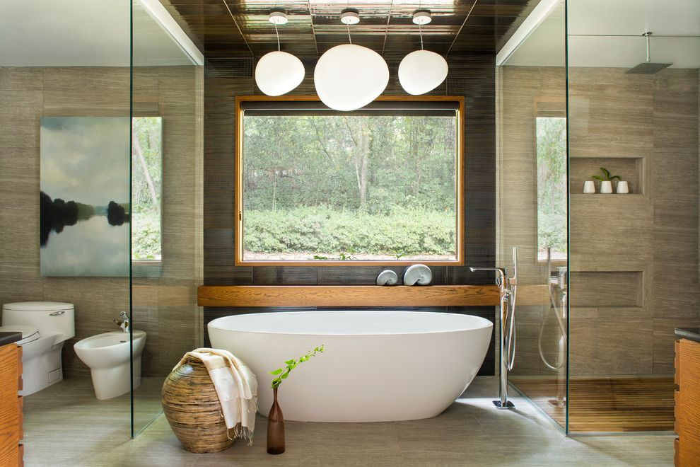 Victoria and Albert Tubs   Asian Bathroom Also Brown Tile Contrasting Tile Freestanding Tub Glass Shower Pendnat Lights Specialty Tile Stylish Tub Filler Wood Wood Shelf