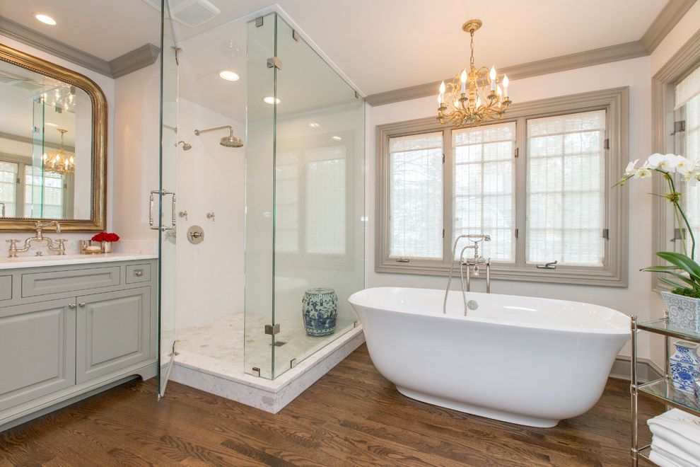 Victoria and Albert Tubs   Traditional Bathroom Also Bathroom Bridge Faucet Calacatta Chandelier Framed Mirror Kitchen Luxury Marble Remodel Traditional White Countertop White Kitchen