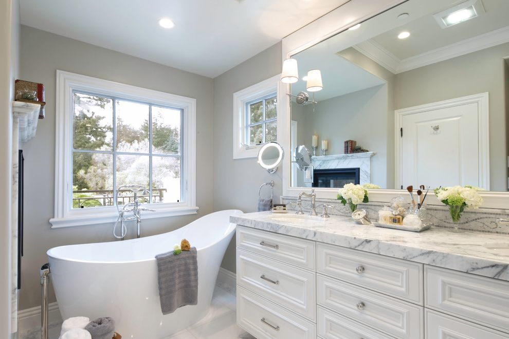 Victoria and Albert Tubs   Traditional Bathroom Also Bathroom Vanities Makeup Mirror Splashback Tile Shower Wall Sconces White Cabinet White Countertop