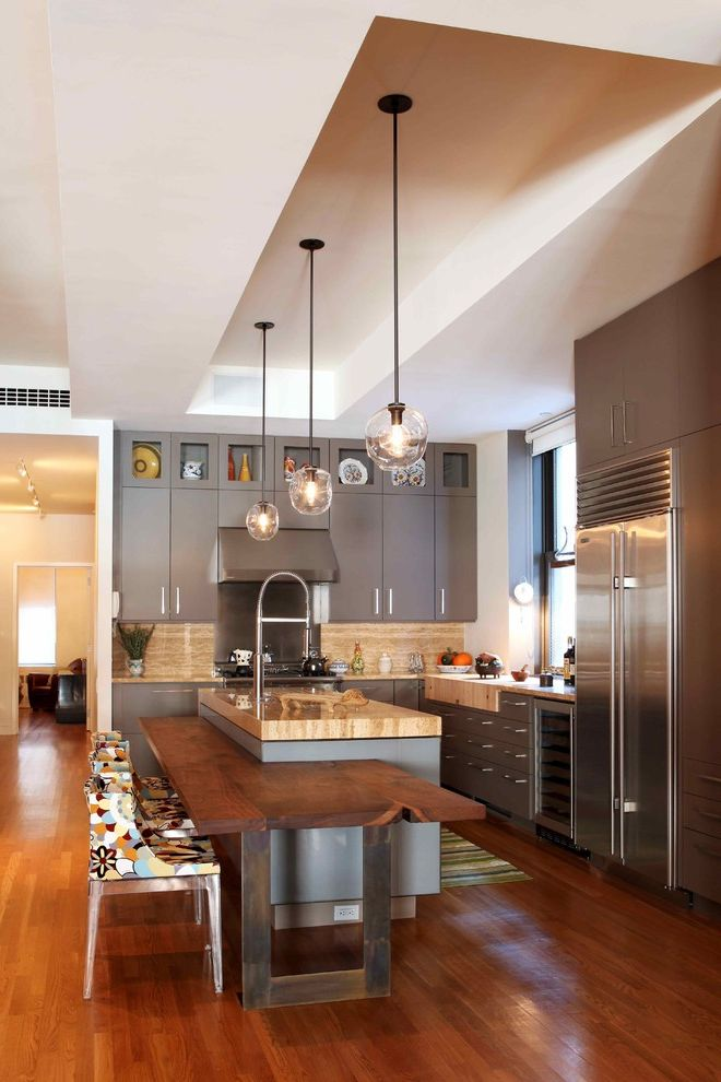 Viking Lumber   Contemporary Kitchen  and Breakfast Bar Colorful Kitchen Chairs Contemporary Pendant Light Eat in Kitchen Islands Kitchen Island Pendant Lighting Recessed Ceiling Tray Ceiling Wood Floors Wooden Floor