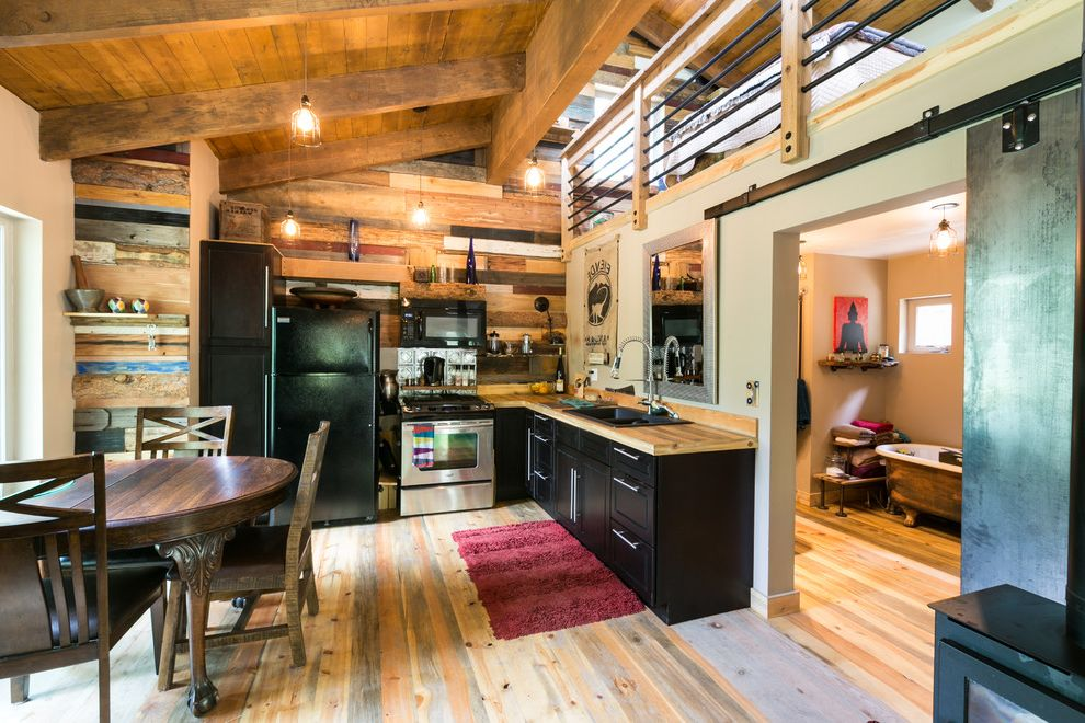Viking Lumber   Rustic Kitchen  and Black Kitchen Cabin Cedar Colorado Coreten Custom Industrial Loft Mountain Natural Reclaimed Wood Rustic Shou Sugi Ban Sliding Barn Doors Wood Panel Wall