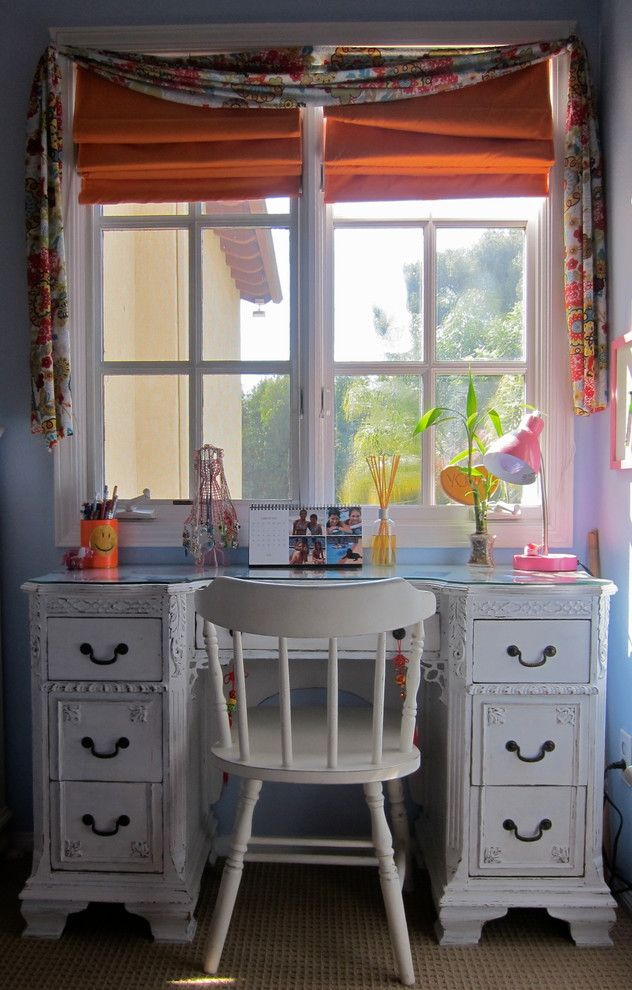 Vintage Desks for Sale   Contemporary Kids Also Bedroom Carved Wood Colorful Cottage Desk Drawers Girl Glass Desktop Kids Light Blue Pink Roman Shades Spindle Chair Teen Tween Valance Vintage