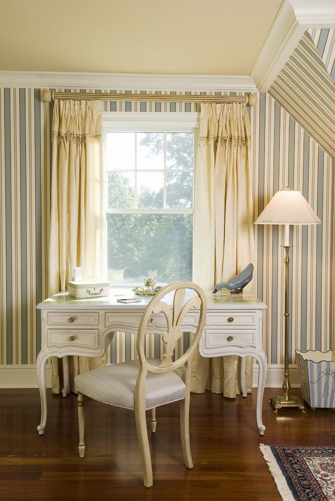 Vintage Desks for Sale   Traditional Home Office  and Brass Cream Dark Stain Desk Floor Lamp Ivory Striped Wall Paper White Window Panels Window Treatment Wood Floor