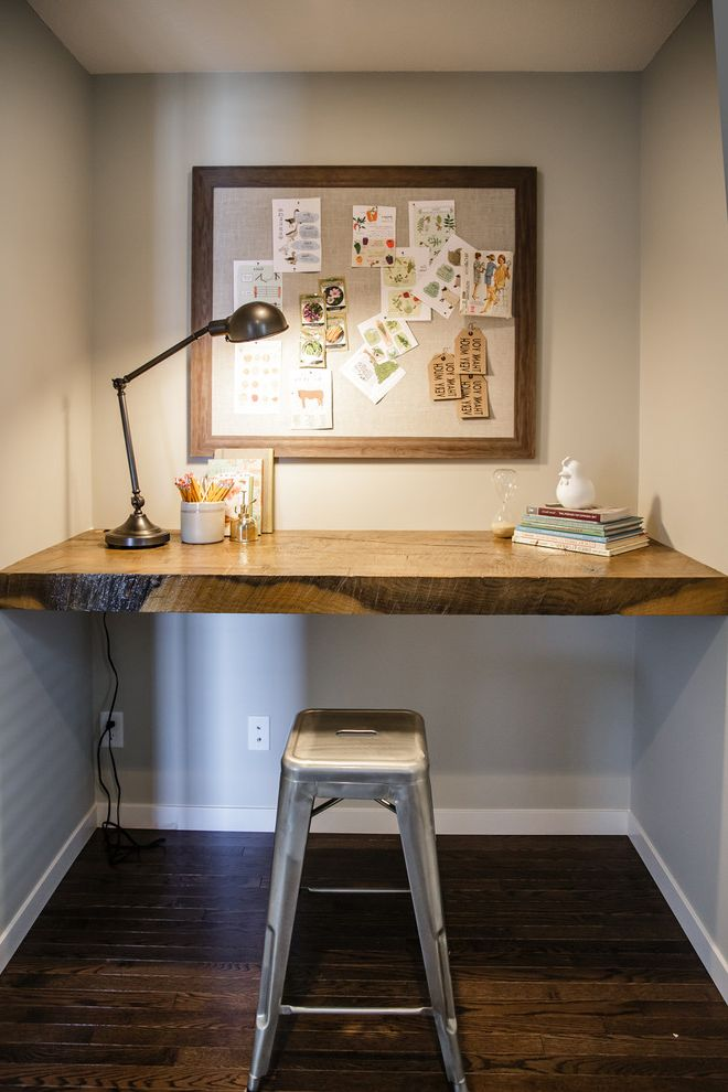 Vintage Desks for Sale with Contemporary Home Office Also Built in Desk Desk Lamp Floating Desk Galvanized Stool Gray Walls Memo Board Pin Board Task Light Vintage White Baseboard Wood Slab