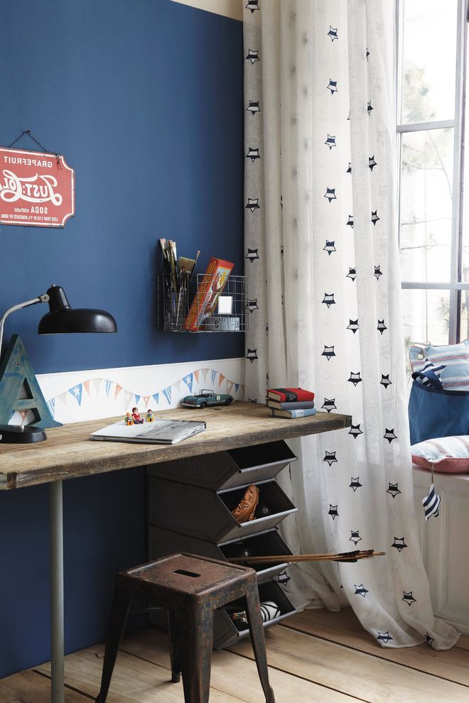 Vintage Desks for Sale with Industrial Kids  and Bins Blue Wall Boys Room Curtains Indigo Industrial Kids Desk Metal Stool Reclaimed Wood Desk Stars Task Lamp Vintage Modern Vintage Sign Window Seat Wire Basket