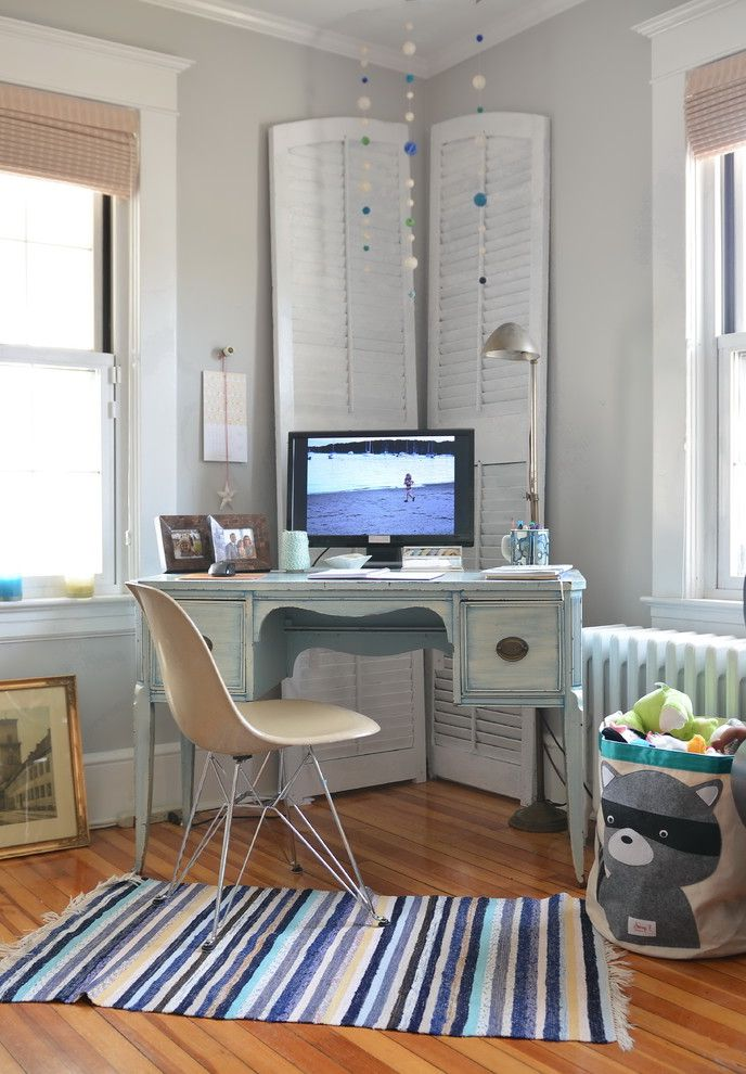 Vintage Desks for Sale with Shabby Chic Style Home Office  and Antiques Feminine Radiator Rustic Striped Rug Toy Storage Window Shutters Wood Flooring