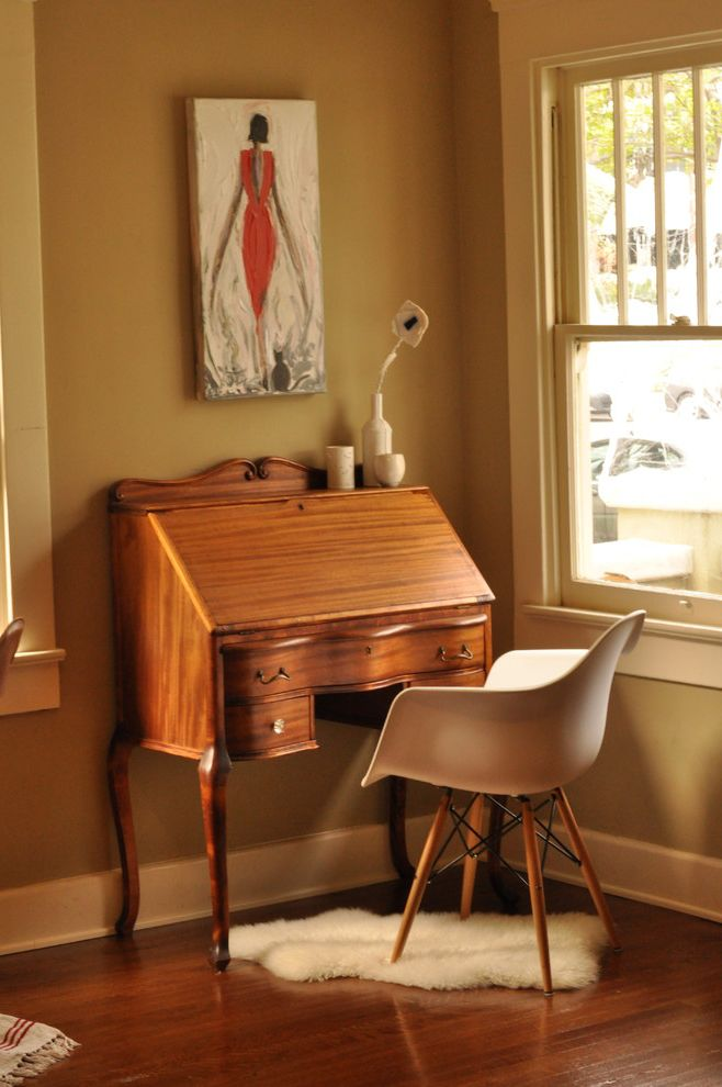 Vintage Desks for Sale with Traditional Home Office Also Contrast Desk Eames Eames Chair Eclectic Elegant Nook Office Old and New Secretary Desk Sheepskin Vintage White Wood Workspace