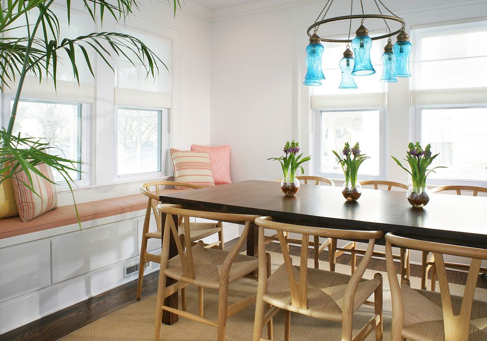 Vintage Style Led Bulbs   Beach Style Dining Room Also Architecture Beach House Chandelier Contemporary Cushions Dark Wood Floors Decorative Pillows Dining Chairs Dining Room Dining Table Floors Hardwood Indoor Plants Modern Moldings Window Seats
