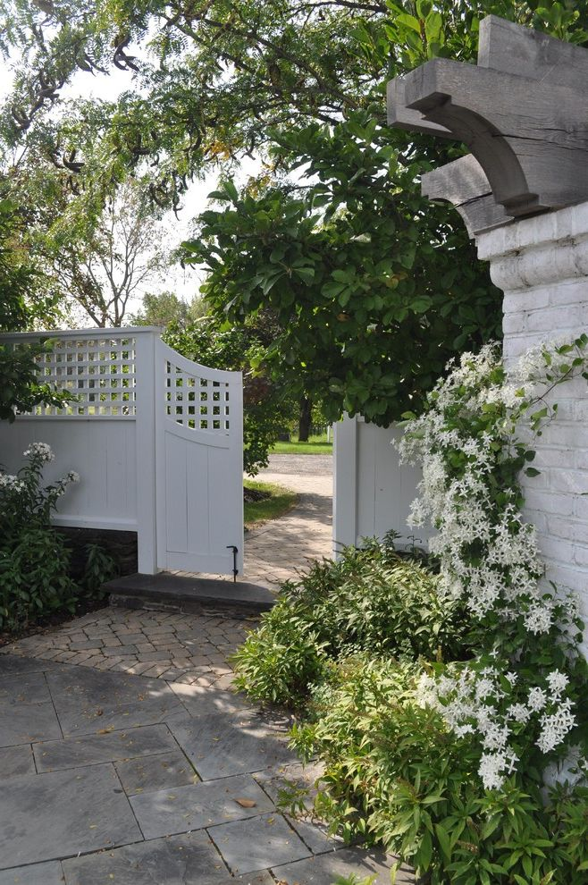 Vinyl Fencing Hawaii with Traditional Landscape Also Arbor Brick Paving Climbing Plants Entrance Entry Garden Entry Garden Fence Gate Herringbone Path Pavers Vine Walkway Wood Fencing