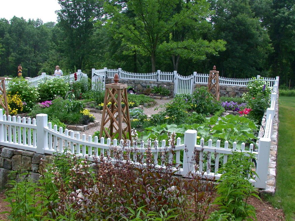 Vinyl Fencing Hawaii with Traditional Landscape  and Acorn Finial Cutting Garden Flowers Garden Sculpture Grass Kitchen Garden Landscape Design Mixed Plants Stacked Stone Stone Planters Trees Tuteur Vegetable Garden White Picket Fence